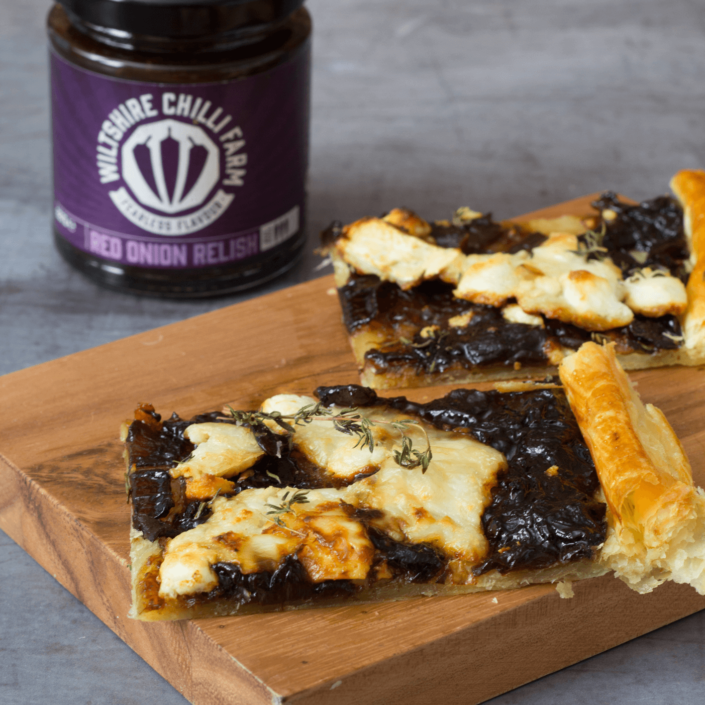 Wiltshire Chilli Farm - Goats Cheese and Red Onion Relish Tart