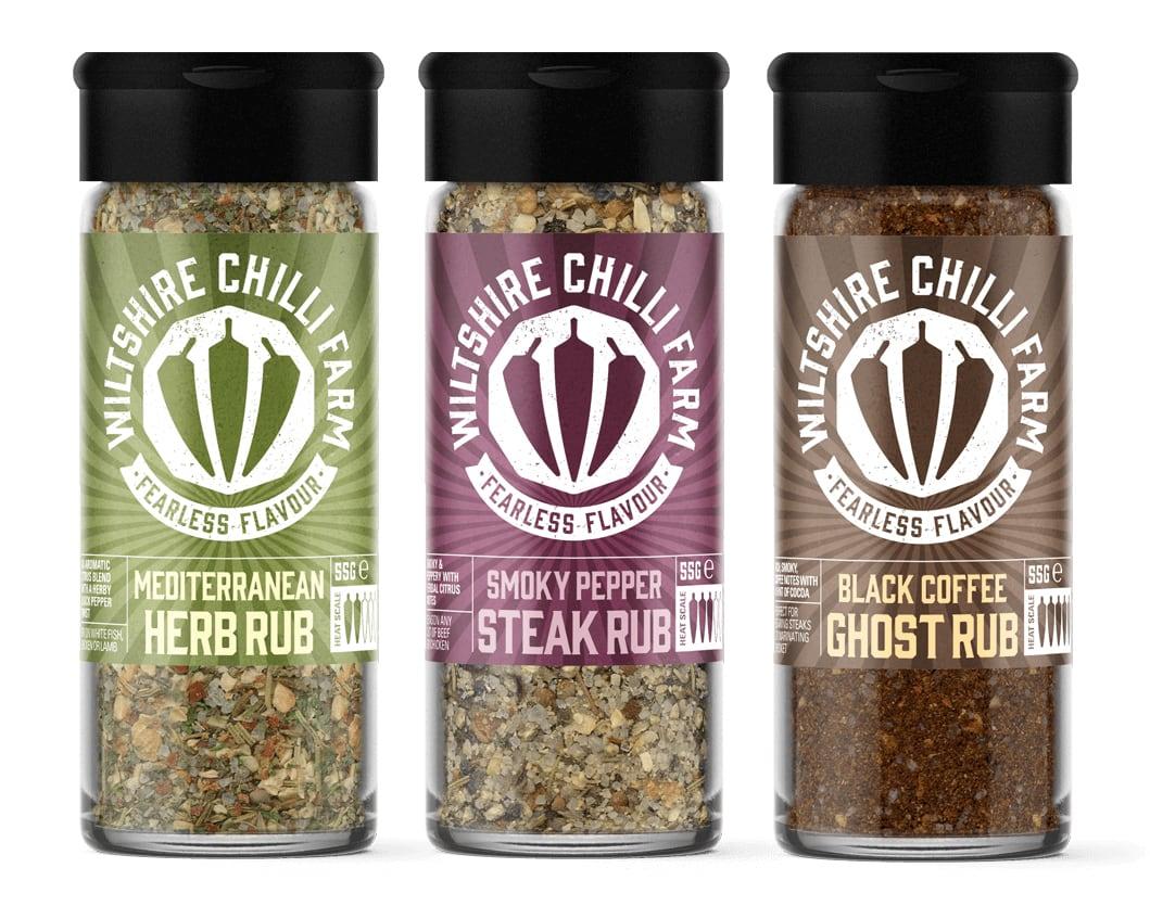 Wiltshire Chilli Farm - Rubs - Mediteranean Herb Rub - Smoky Pepper Steak Rub - Black Coffee Ghost Rub